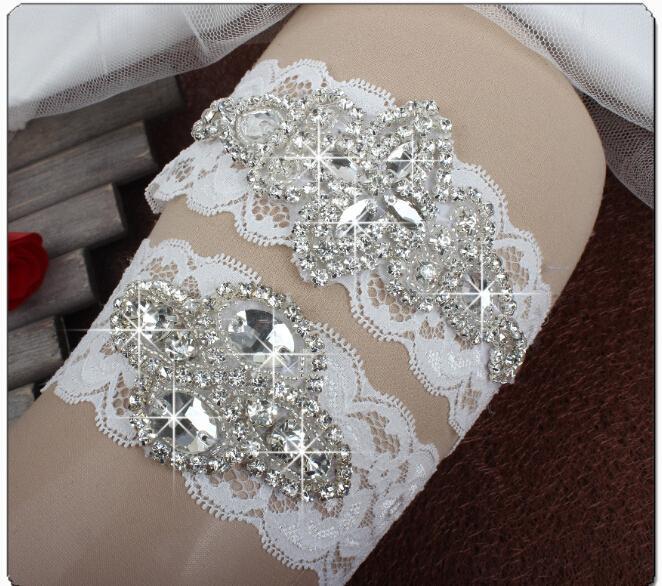 Giarrettiere da sposa di cristallo scintillante Giarrettiere da sposa immagine reale Giarrettiere da sposa fatti a mano in pizzo da sposa in magazzino
