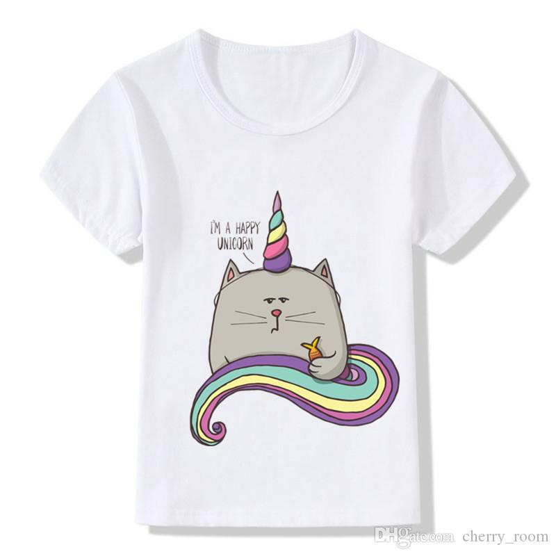 Compre Nueva Moda De Dibujos Animados Camisetas Para Niños Niñas Soy Un  Feliz Camiseta Unicornio Blanco De Manga Corta De Algodón Niños Ropa  Camisas Niños ... 6350d9e1b7f1d