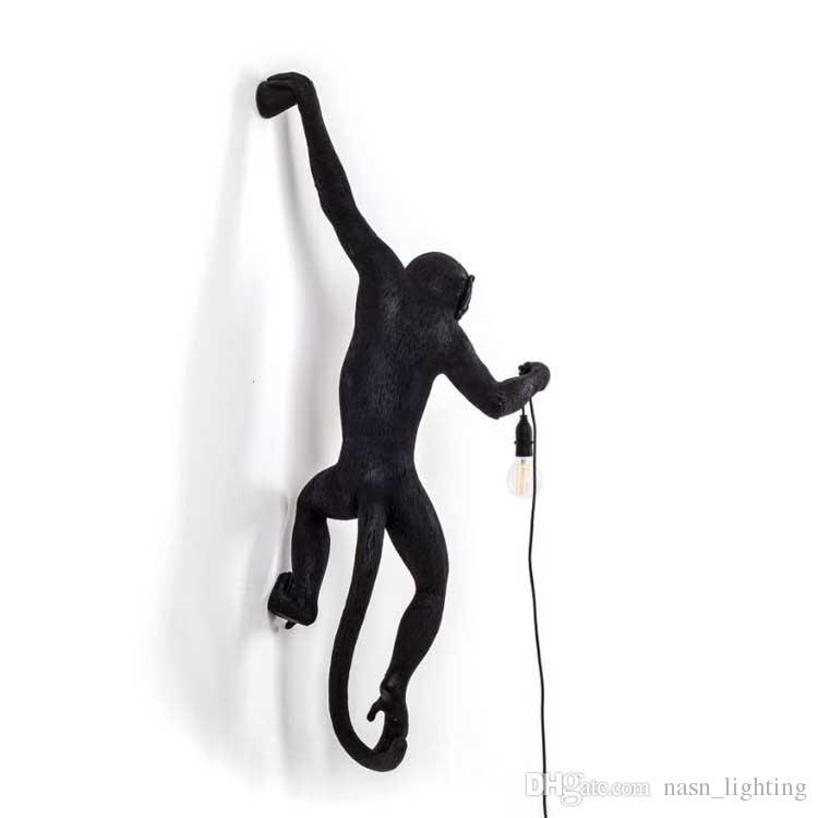 Lampara de pared Kitsch ilginç Sanat Nordic Siyah Reçine Asılı Siyah Maymun Duvar Lambaları Loft Cafe Siyah Halat Hayvan Duvar aplikleri