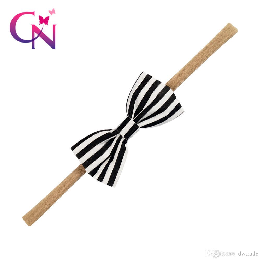 Fashion Baby Girls Hairbands Big Bows Tie Hair Accessories Dotted Striped Printed 5.5 Inch Headbands for Infants 10 Styles