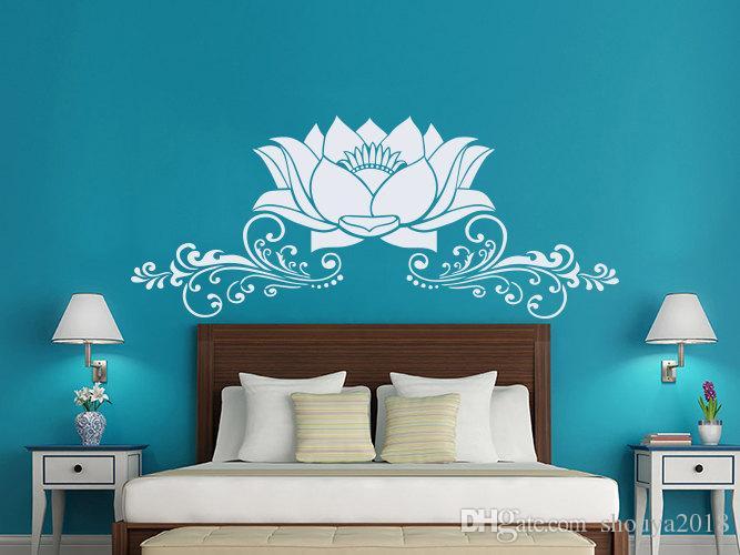 Lotus Flower Wall Stickers Removable Interior Houseawre Bedroom Vinyl Decal Art Mural Beautiful Lotus PVC Design