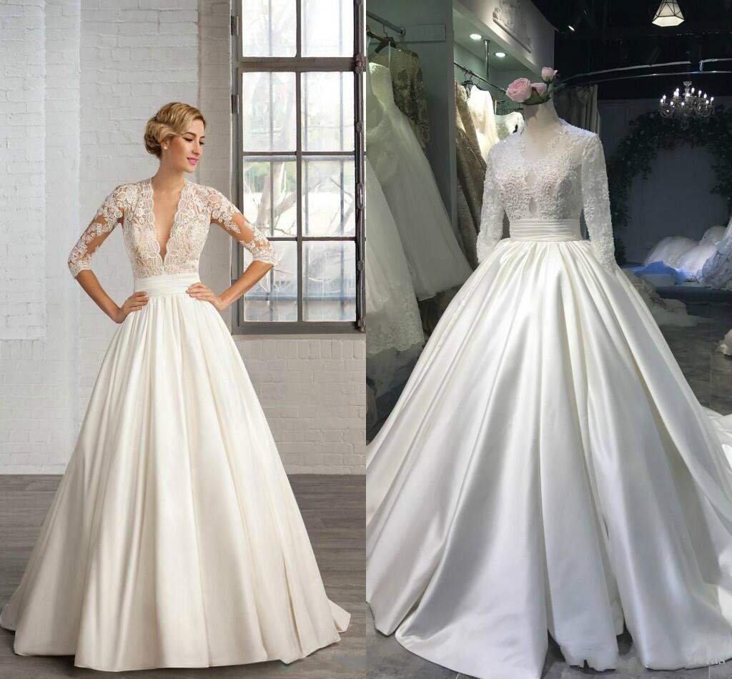 Luxurious 2019 Ball Gown Satin Wedding Dresses 3/4 Long