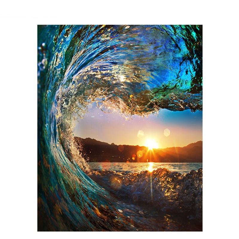 Sayılara Göre Artsailing Resimler Kit Boyama Gün Batımı Dalga Deniz Manzarası Tuval üzerine Yağlıboya Tablolar Np 025