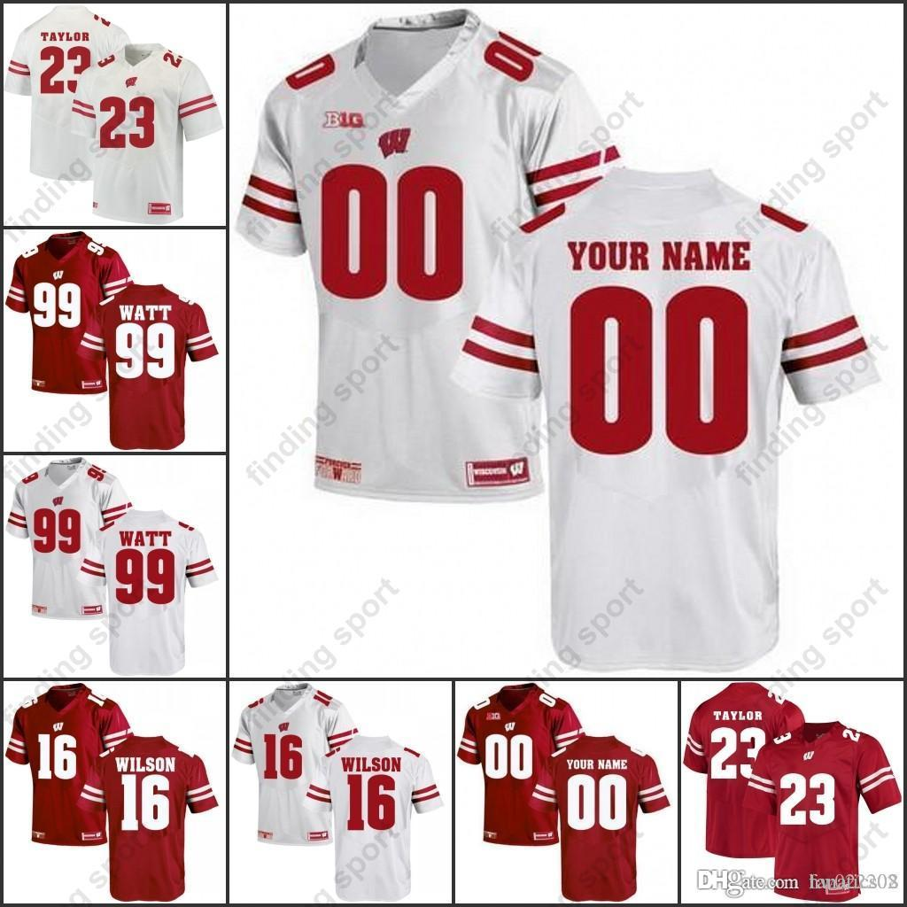 Custom NCAA Wisconsin Badgers College Football Jerseys Any Name Any Number  16 Russell Wilson 23 Jonathan Taylor 99 J. J. Watt Online with  27.33 Piece  on ... 424ceeb4d