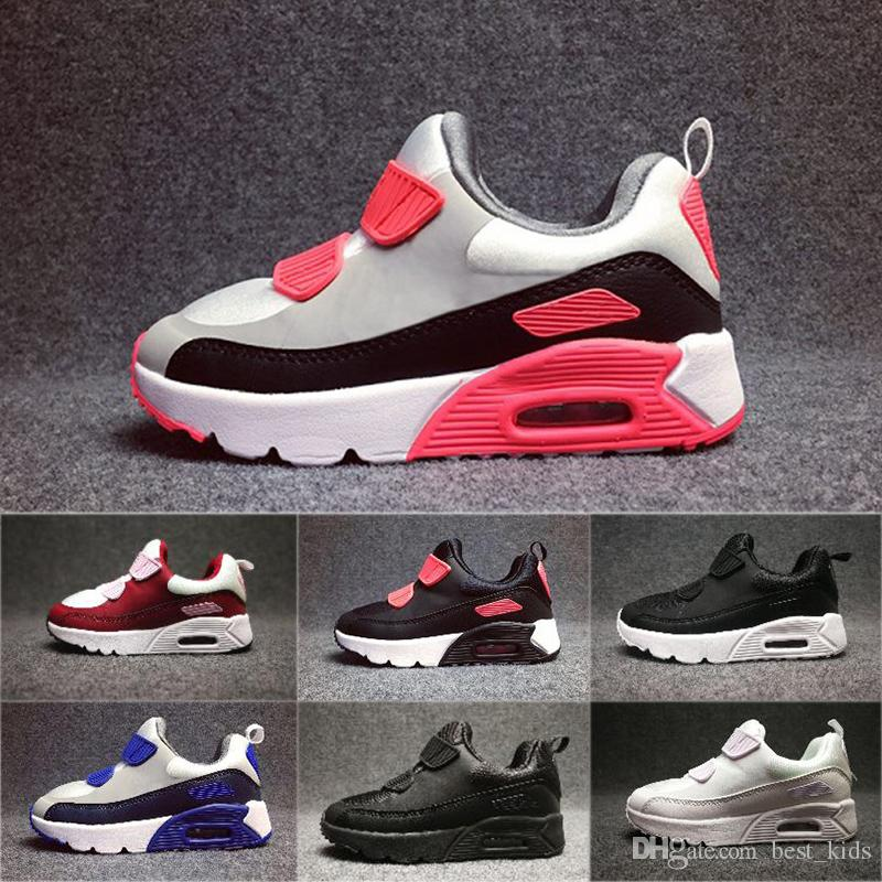 premium selection f283f b705f Compre Nike Air Max 90 2018 Primavera Otoño Zapatos Para Niños 90 Rojo  Negro Transpirable Cómodo Niños Zapatillas 90 Niños Niñas Niño Zapatos Bebé  28 35 A ...