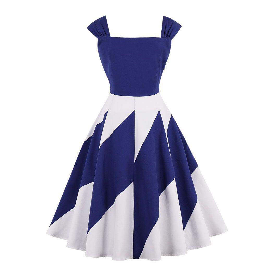 aa3422a1dfdfe Women's Vintage Style Swing Dress 1950s Retro Rockabilly Pinup Housewife  Dresses Plus Size