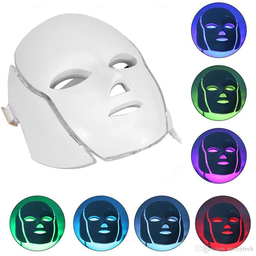 Hot Sale!!! LED Photon Light 7 Colors Face Facial Neck Mask Photodynamic PDT Skin Rejuvenation Beauty Massage Home Use