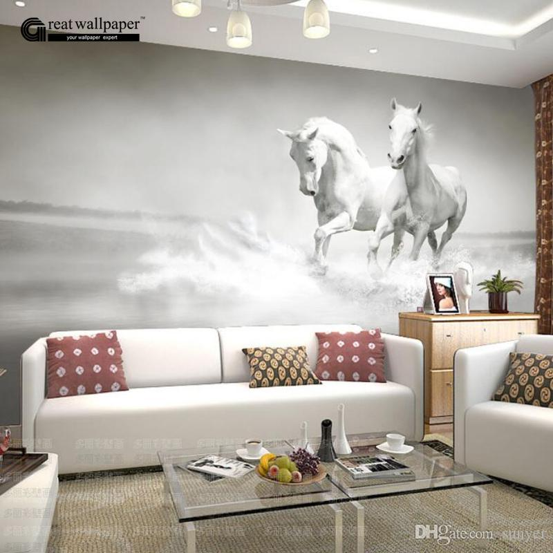 wholesale custom any size 3d wall mural wallpaper, white horse wallwholesale custom any size 3d wall mural wallpaper, white horse wall murals wallpaper,3d horse custom wall paper murals for living room free screensaver