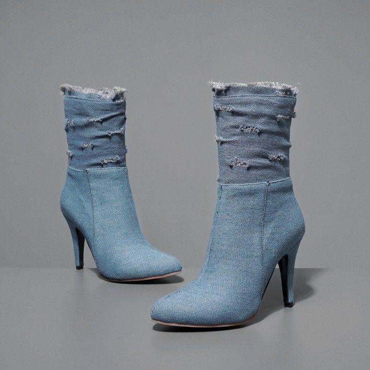 d7a46ab03445b1 Acheter US4 14 Womens Stilettos Talon Haut Bottines Pointed Toe Chaussures  Denim Jeans Velours Doublé Warm Zipper Taille Plus De $68.94 Du Croftte |  DHgate.