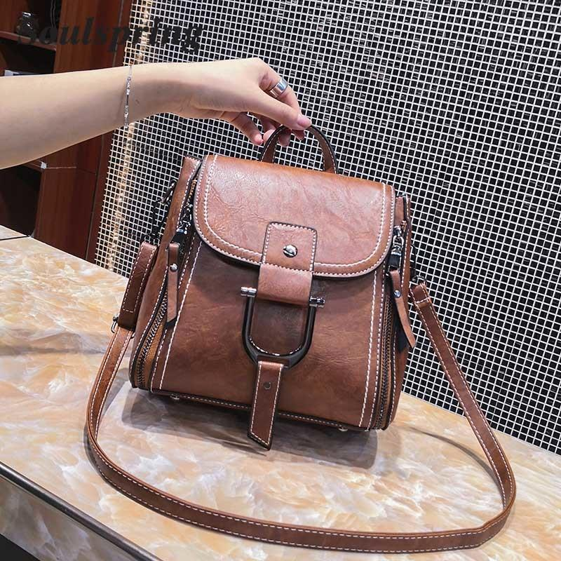 2019 Fashion SOULSPRING Multifunction Vintage Pu Leather Bags Women  Handbags Female Crossbody Bags Luxury Brand Flap Shoulder Bags New 2018  Backpack Purse ... e6145a6fc5397