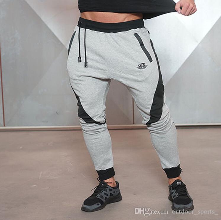 Compre Pantalones Deportivos De Entrenamiento De Fitness Para Hombres  Running Sports Pantalones De Fitness Empalme De Pantalones De Guardia  Casual Delgado Y ... 71a9a331abbd