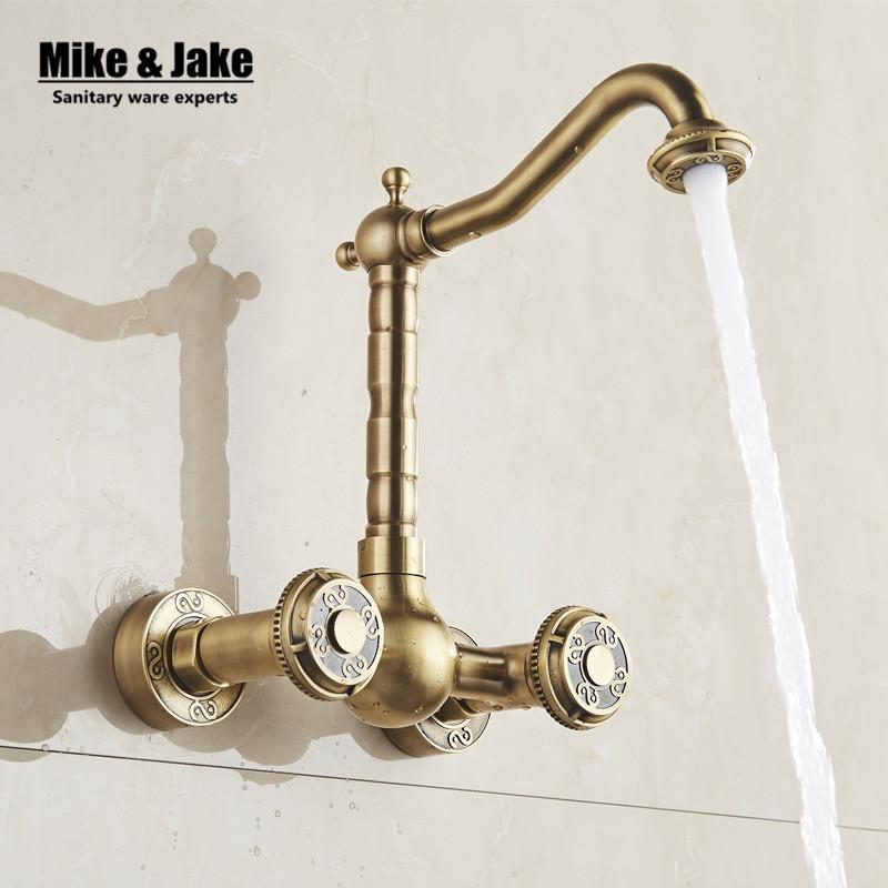 Best Antique Brass Wall Mounted Kitchen Faucet Bathroom Antique ...