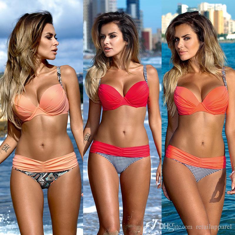 Sexy Bikinis Women Swimsuit 2018 Summer Low Waisted Bathing Suits Halter Top Push Up Bikini Set Plus Size Swimwear XXL