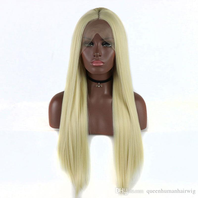 Honey Blonde Yaki Straight Hair Hand Tied Synthetic Lace Front Wig Heat Resistant Fiber For African American Women