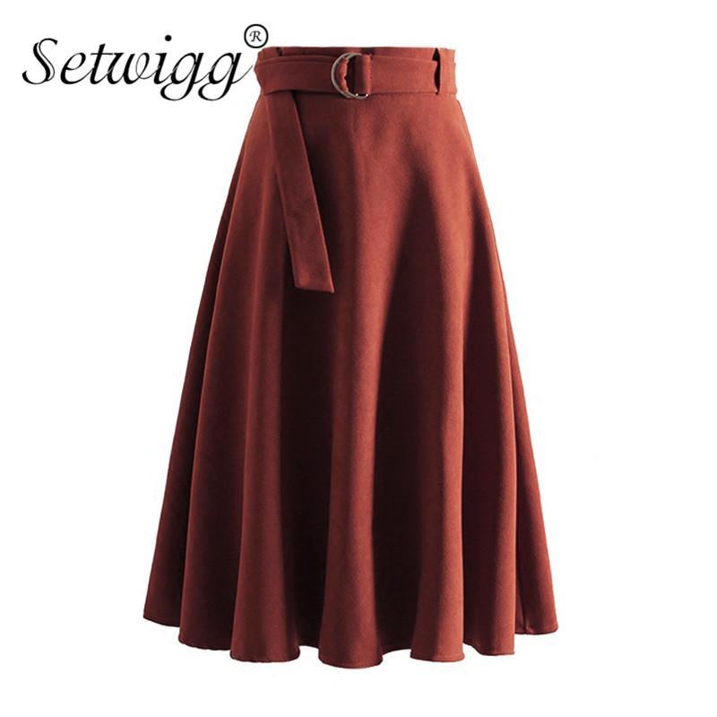 60b64a3420 WIGG Spring High Waist Buckle Belt Suede Midi Skater Skirts Zipper Sashes  Flared Pleared Knee Length Velvet Skirts SG2705 From Vanilla03, $33.51 |  DHgate.