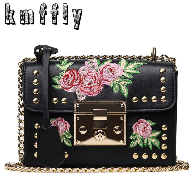 KMFFLY Embroidery Floral Luxury Handbags Women Bags Designer Brand Famous Shoulder Bags Female Leather Marque De Vintage Bag D18102407