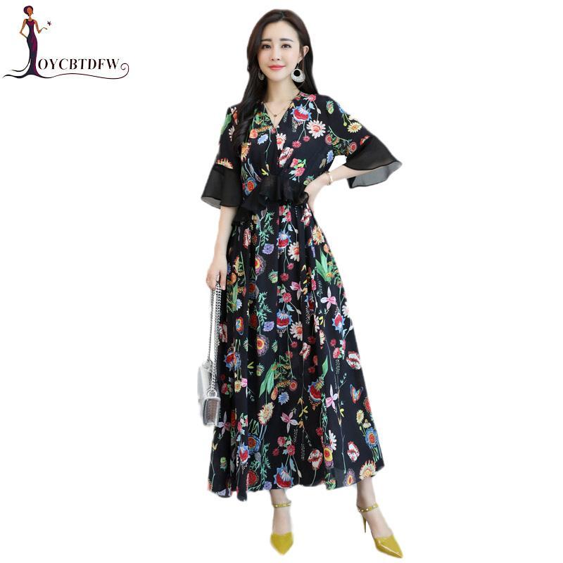 839eeaf37723 Compre Vestido De Chiffon Impresso Mulheres Temperamento De Verão Elegante  Com Decote Em V Magro Tamanho Grande S 4xl Manga Borboleta Mulheres Vestido  Longo ...