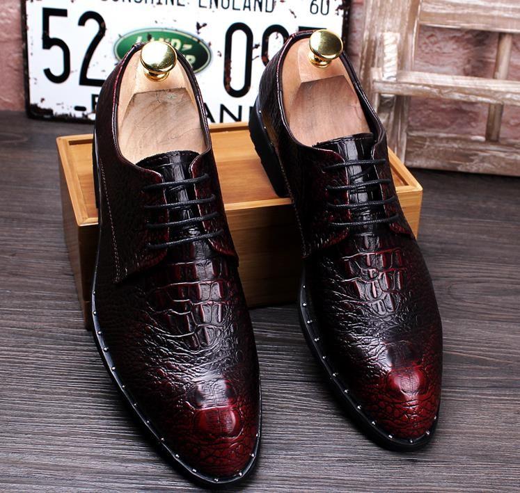 Nuovo marchio da uomo di lusso l Coccodrillo indossare scarpe di cuoio uomo vera pelle inglese forte aumento scarpe da sposa giovane parrucchiere scarpe nx21