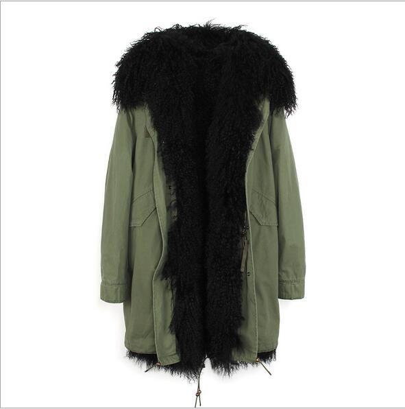 forro de pele branca Mongólia ovelhas Jazzevar marca de moda azul demin longas jaquetas parka neve do inverno com a Mongólia guarnição da pele de ovelha