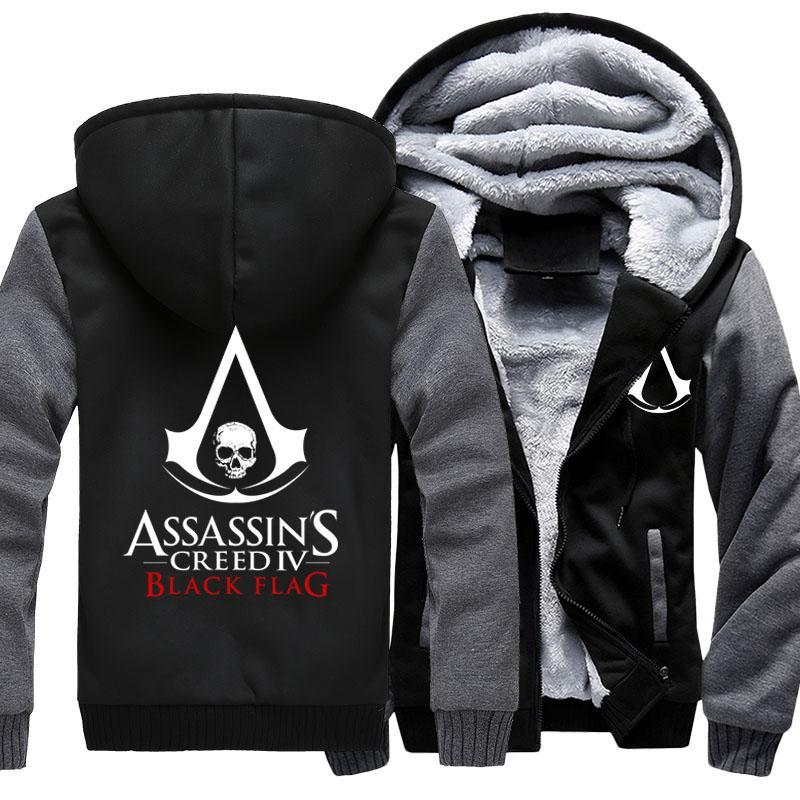 USA size Men Women Game Assassins Creed Rogue Unity Black Flag Zipper Jacket Thicken Hoodie Coat Clothing Casual Sweatshirts