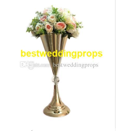 New Slivergold Trumpet Vase For Wedding Centerpiece Sliver Flower