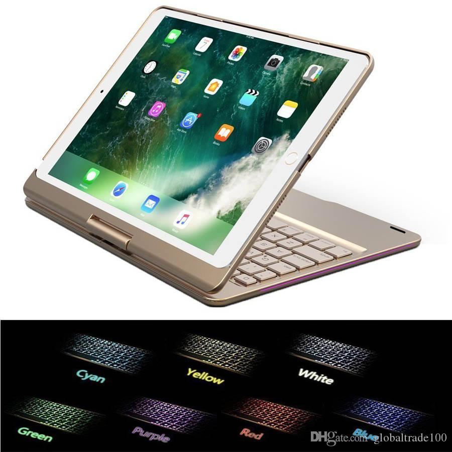 For iPad Pro 9.7 Wireless Bluetooth Keyboard Cover Case With Backlight 360 Rotation Backlit Cases For iPad air 2