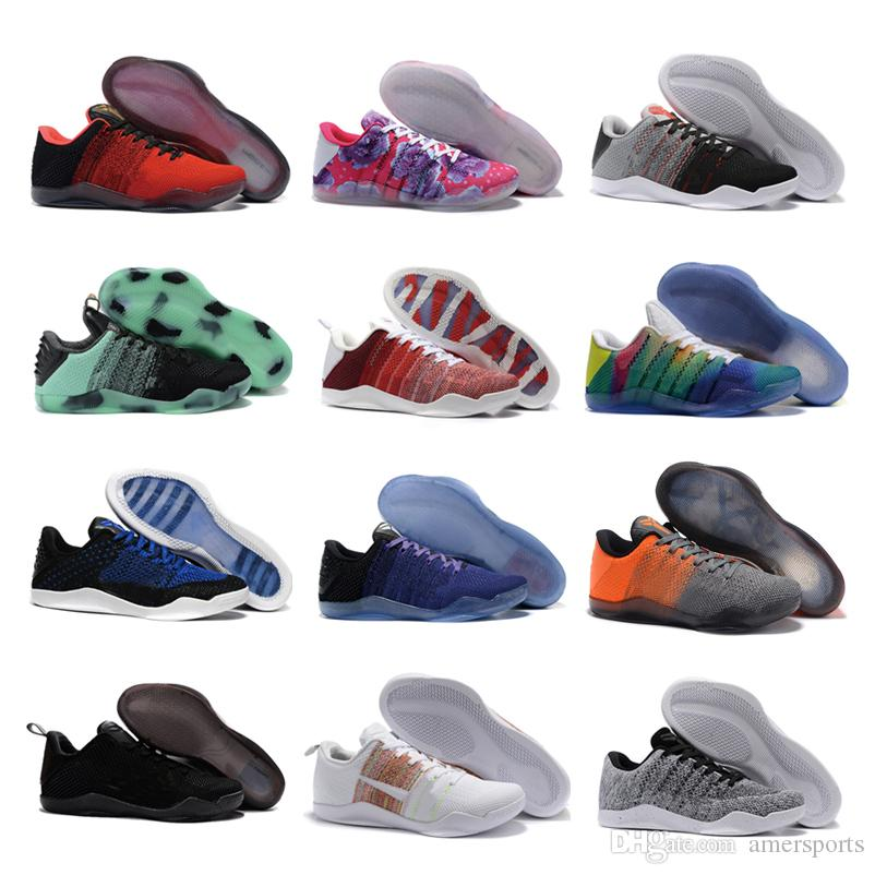huge discount fa658 3b759 High Quality Kobe 11th Generation Knit Elite Basketball Shoes Men Kobe 11  Red Horse Monkey KB 11 Sports Basketball Shoes 40 46 Baseball Shoes  Basketball ...