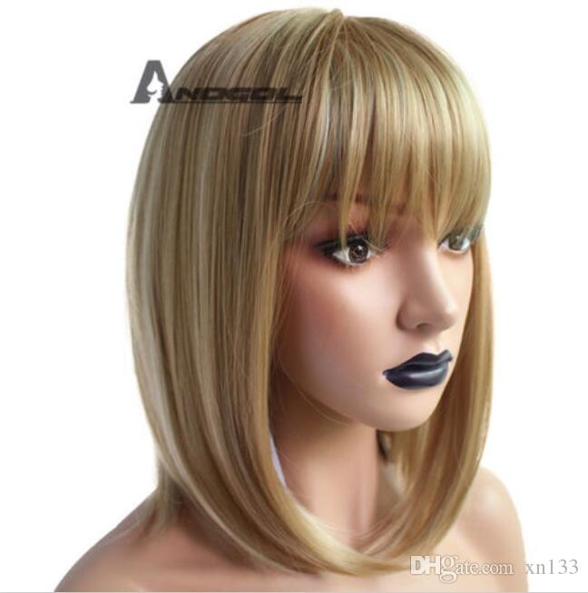 Anogol Blonde Wig Synthetic Hair With Bangs Brown Short Straight Bob