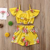 Boutique baby suit 2018 summer cotton girl printing T-shirt+shorts suit best-selling models H005