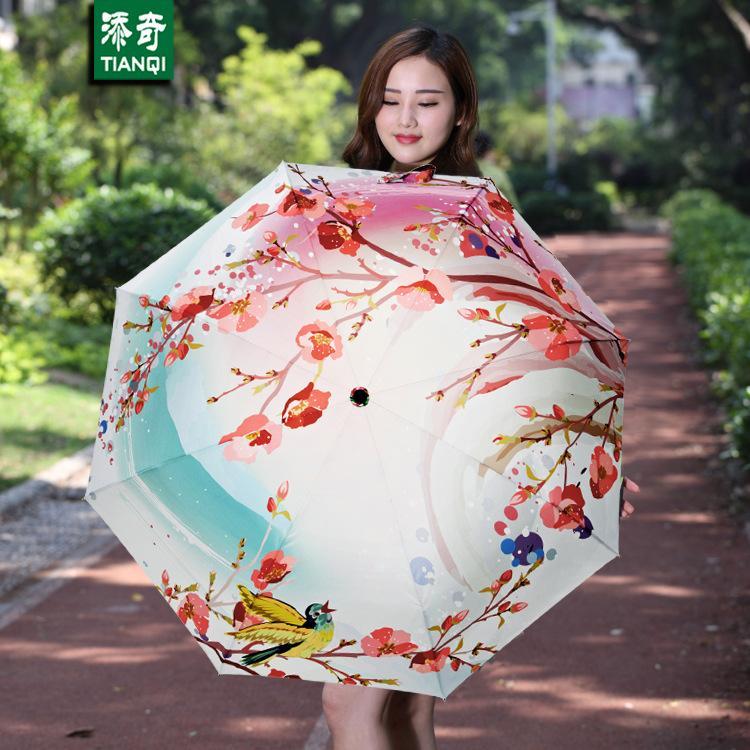 4b652d9a9 2019 Peach Blossom Paern Umbrella Women Oil Painting 3 Folding Parasol  Fashion Lady Portable Girl Friend Gift Kids From Harriete, $29.0 |  DHgate.Com