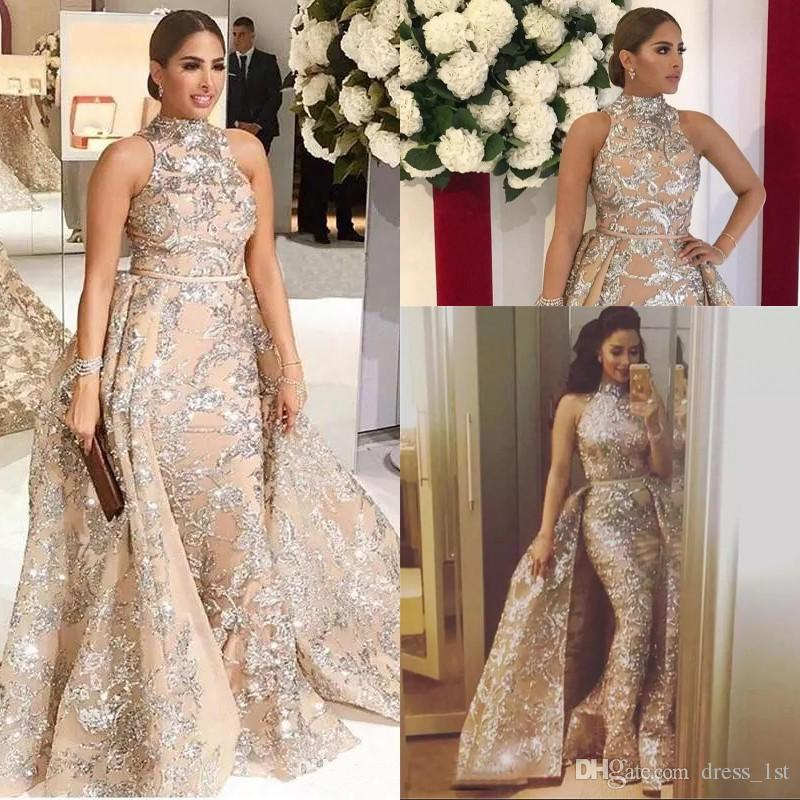 Luxury High Neck Mermaid Evening Dresses Formal Gowns With Overskirt New  Arrival Silver Glitter Powder Fabric 2018 Prom Dress Sexy Short Evening  Dresses ... 86a339d7772b