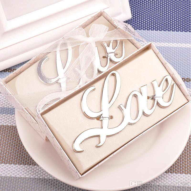 New Elegant Wedding Gifts Silver Love Shaped Bottle Opener Bridal