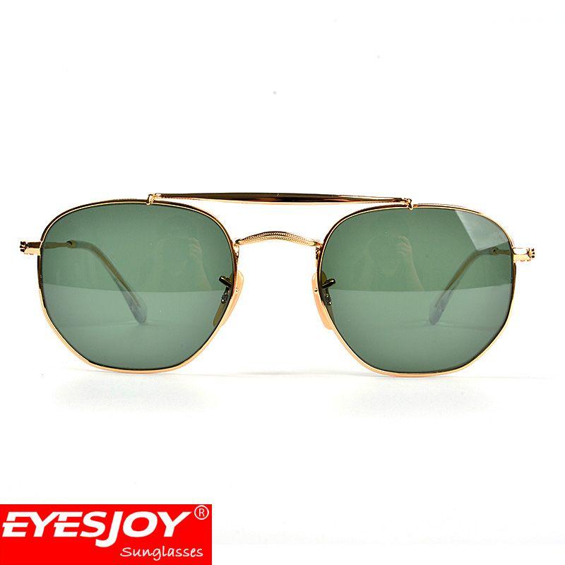 7e8ae37588c32 Fashion Brand Designer Sunglasses New Hexagon Double Bridge Metal ...