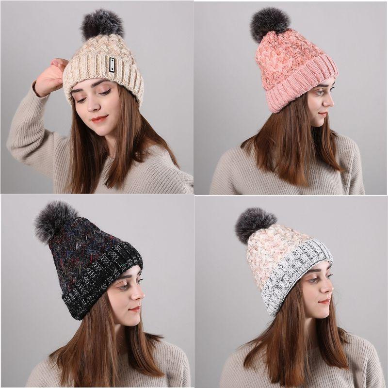 5f8cefde240 Winter Warmer Women Hat Brand Cuffed Beanies Knitted Caps Crochet Pompon Ear  Protect Plus Velvet Caps Ladies Beanies CJ190 Fedoras Beanie Hats From  Oldnavy