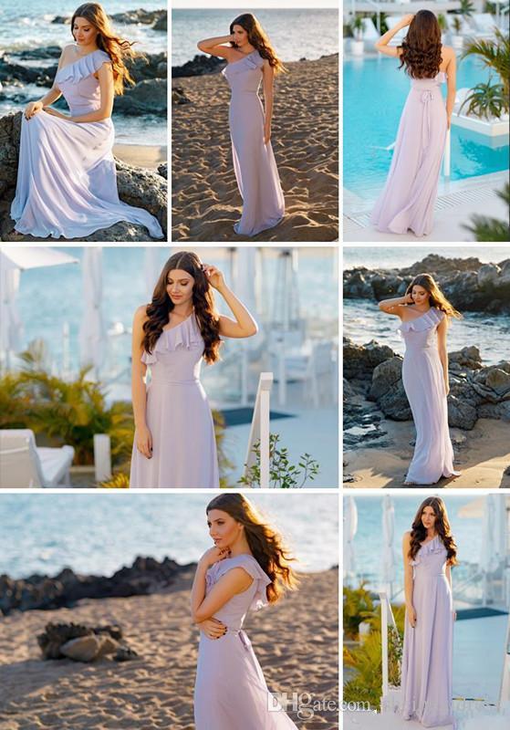 2018 Summer Chiffon Ruffled One Shoulder Bohemian Bridesmaid Dresses Sleeveless Floor Length Beach Wedding Evening Party Dresses Custom Made