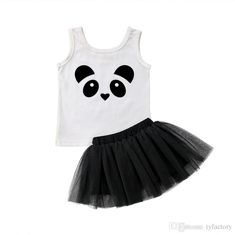 d6071b244 Panda Crianças Meninas Vestidos de Preto Roupa Roupa Duas peças Set Vest +  Saia Roupas de Bebê Vestido De Verão Vestido de Verão Da Princesa Do Bebê  Vestido ...