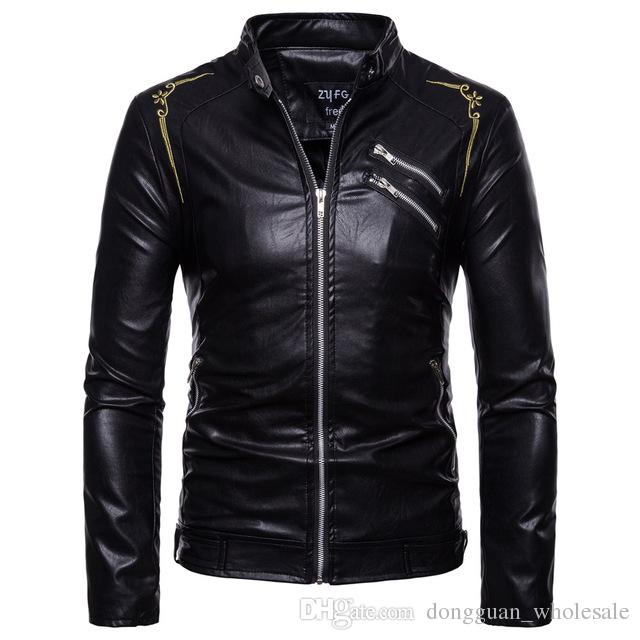 Pu Leather Jackets Men New Autumn Winter 2019 Men S Wear Stand Up