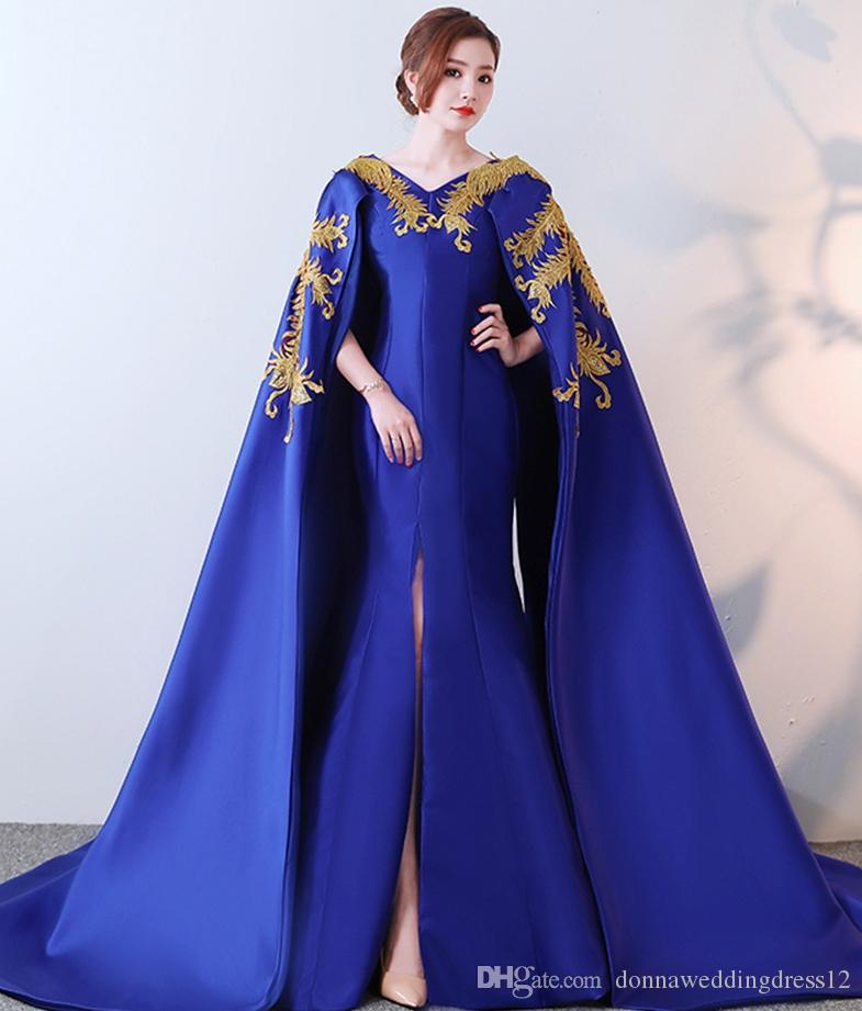 43d9fd9be643f Vestidos De Noiva 2019 Royal Blue V Neck Gold Embroidery Long Evening  Dresses With Warp Mermaid Satin Formal Party Dress Prom Dress Customed Shop  Dresses ...