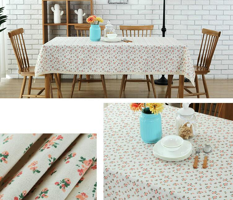 Romantic Linen Cotton Tablecloth Floral Printed Rectangular Table Cover Lace Edge Wedding Table Cloth Home Party Decoration