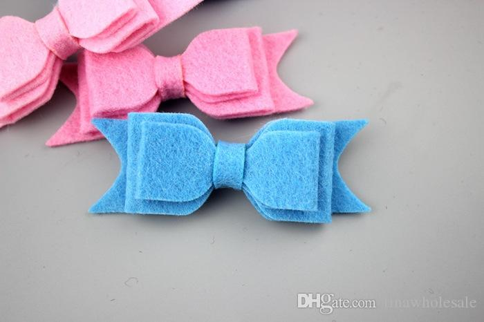 2017 hot selling new style girls' handmade decorative solid felt hair bow for baby headband from china supplier