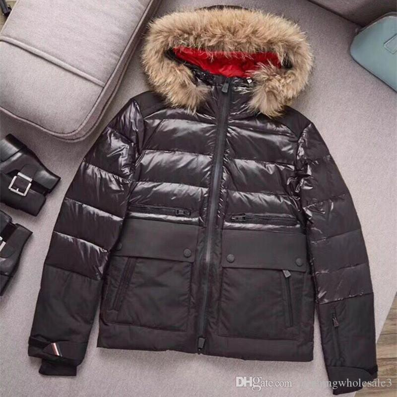 Brand Luxury Mens Ski Down Coats with Real Fur Hooded Winter 90% White Goose Down Waterproof Jackets Zipper Outdoor Outwear Sale