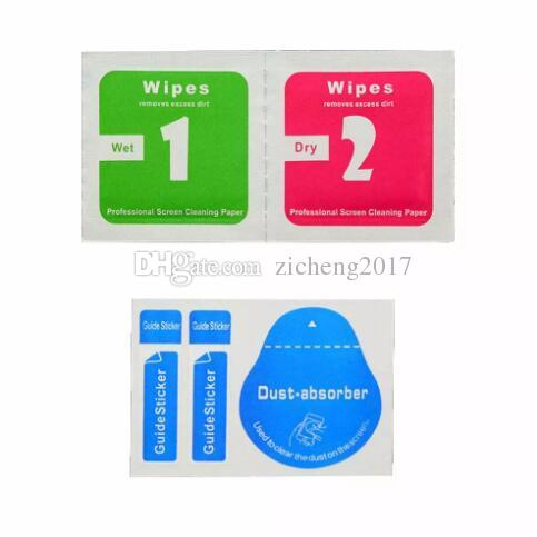 wholesale Dry Wipes+Wet Wipes+Dust Absorber Sticker Cleaning Cloth For Tempered Glass Screen Protector Tablet Camera LCD