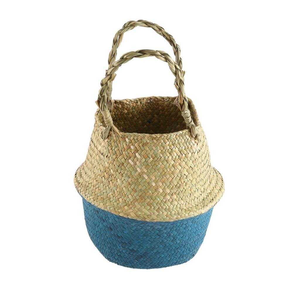 New Women's Bag Foldable Natural Straw Woven Totes Bag Shopping Flower Basket Handmade Hanging Basket For Women ZM1458201