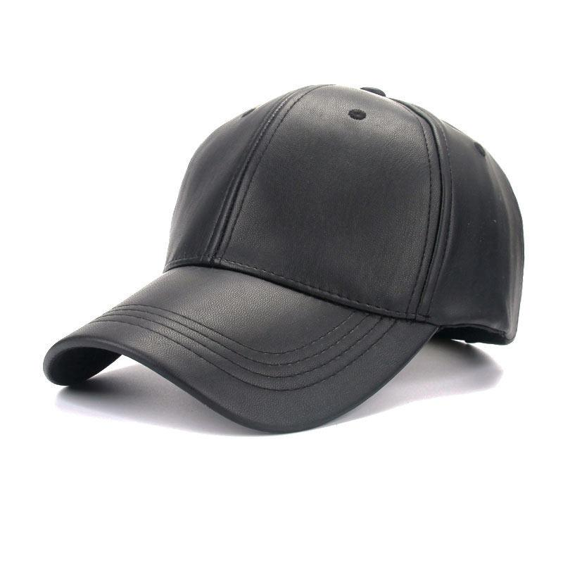 0dd92b2cc29 4 Panel PU Faux Leather Curved Baseball Cap Dad Hats For Women Men ...