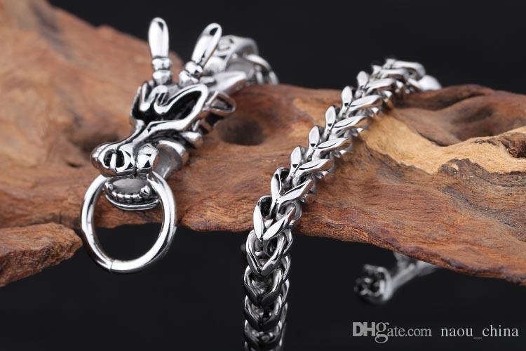 Gothic Punk Vintage Men Bracelet Antique Silver Stainless Steel Dragon Head Pattrern Chain Bangle Bracelets Women Jewelry 21cm,22cm,24cm