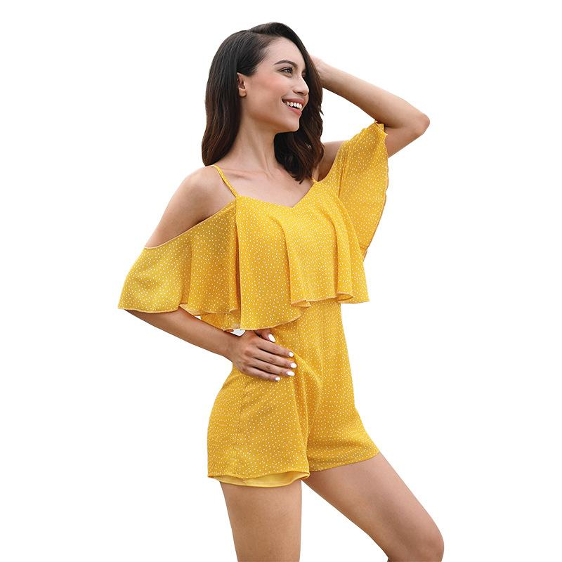 8464604e8fd9 Celucasn Women s Printed Sexy Ruffled Hanging Bandwidth Truffle Shoulder Shorts  Jumpsuit Female 81695 Online with  75.16 Piece on Chengdaphone03 s Store ...