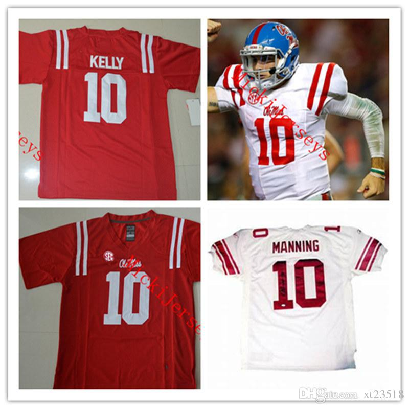 fc4fac487 Mens NCAA Ole Miss Rebels Eli Manning College Football Jerseys Stitched Red  White  10 Chad Kelly Ole Miss Rebels Jerseys S-3XL Ole Miss Rebels Rebels  Eli ...