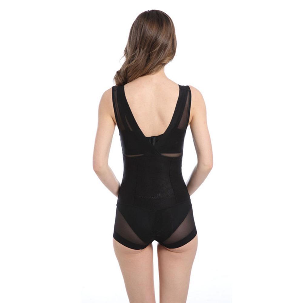 Wondear Güzellik Dantel Karın Kontrol Shapewear V Yaka Siyah / Çıplak Bodysuit Kadınlar Tam Vücut Şekillendirici Zayıflama Bel Eğitmen ...