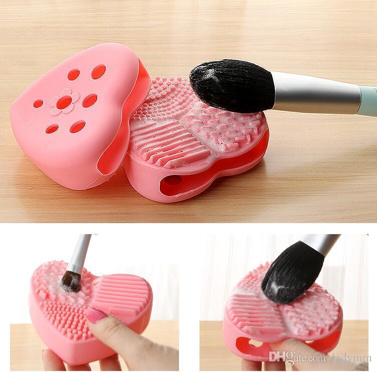 Yeni 10 Renkler Kalp şekli Makyaj Fırça tutucu ile Silikon Kozmetik Temizleme Aracı Yıkama Fırçası yumurta Ped Fırça Temizleyici Ücretsiz kargo