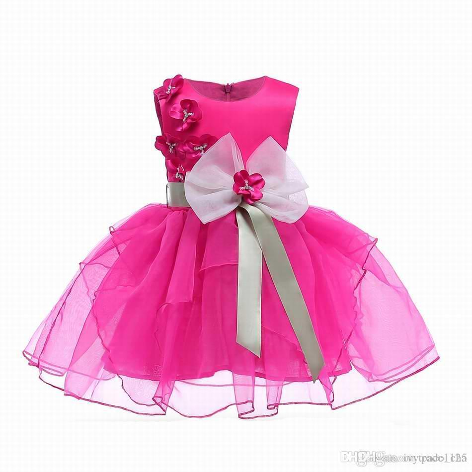5abead059608 INS Girl Princess Bow Dress Dobby Rose Flower Tutu Style Summer ...